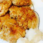 鶏ひき肉ともやしの照り焼きハンバーグ