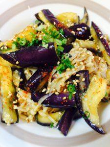 レンジで出来るエノキとナスの中華風サラダ