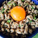 鶏肉と小松菜の甘辛丼