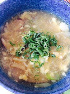 干し貝柱と椎茸のネギスープ