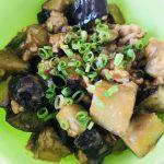 ナスとひき肉の甘味噌丼