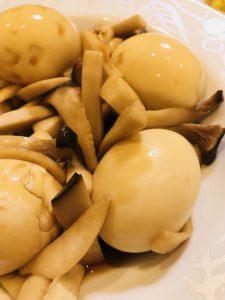 茹で卵とエリンギの照り炒め